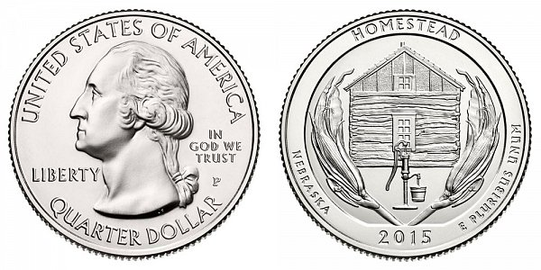 2015 P Homestead National Monument of America Quarter - Nebraska