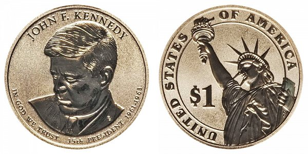 2015 P John F. Kennedy Presidential Dollar Coin - Reverse Proof