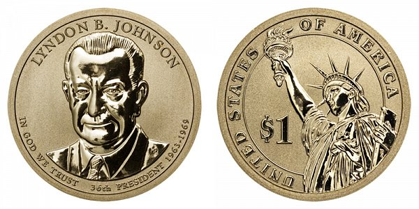 2015 P Lyndon B. Johnson Presidential Dollar Coin - Reverse Proof