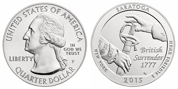 2015 Saratoga 5 Ounce Burnished Uncirculated Coin - 5 oz Silver