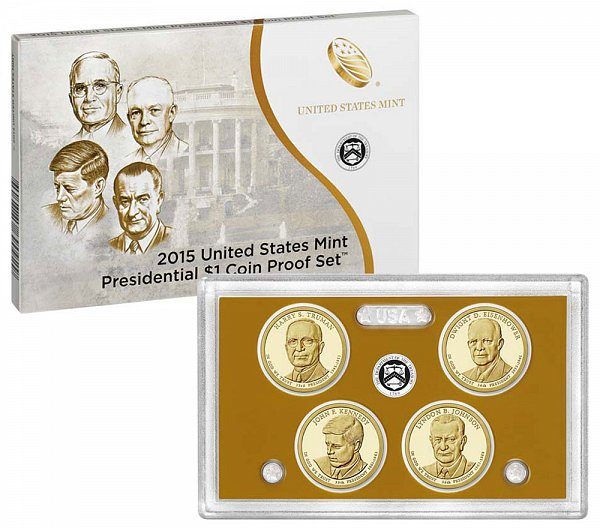 2015 Presidential $1 Dollar Coin Proof Set - 2015-S 4 Piece Set