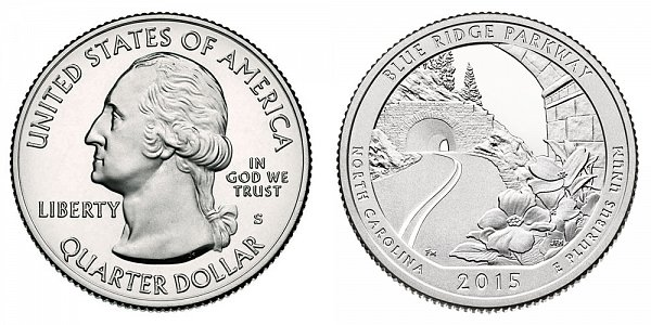 2015 S Proof Blue Ridge Parkway Quarter - North Carolina