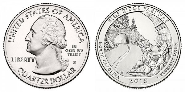 2015 S Uncirculated Blue Ridge Parkway Quarter - North Carolina