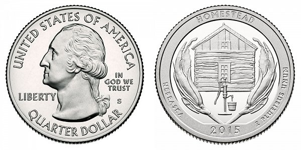 2015 S Silver Proof Homestead National Monument of America Quarter - Nebraska