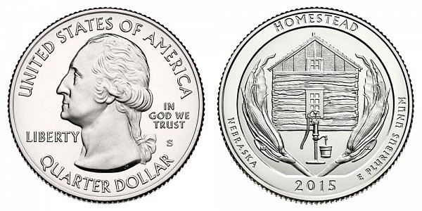 2015 S Uncirculated Homestead National Monument of America Quarter - Nebraska