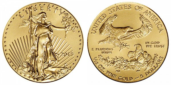 2015 Tenth Ounce American Gold Eagle - Narrow Reeds - 1/10 oz Gold $5