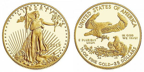 2015 W Half Ounce American Gold Eagle Proof - $25 1/2 oz Gold