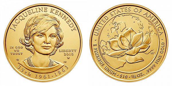 "2015 W Jacqueline ""Jackie"" Kennedy First Spouse Gold Bullion Coin - Brilliant Uncirculated 1/2oz Half Ounce Gold"