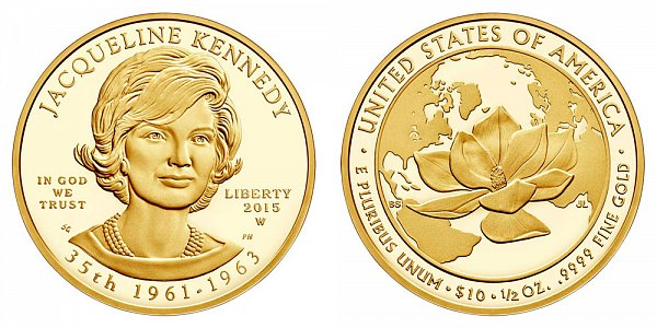 """2015 W Jacqueline """"Jackie"""" Kennedy First Spouse Gold Proof Coin - 1/2oz Half Ounce Gold"""
