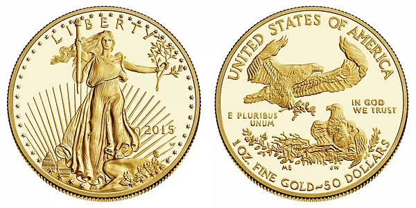 2015 W One Ounce American Gold Eagle Proof - $50 1 oz Gold