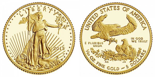2015 W Tenth Ounce American Gold Eagle Proof - $5 1/10 oz Gold