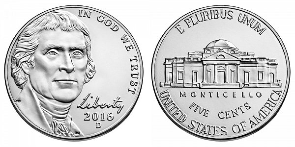 2016 D Jefferson Nickel