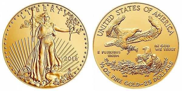 2016 Half Ounce American Gold Eagle - 1/2 oz Gold $25