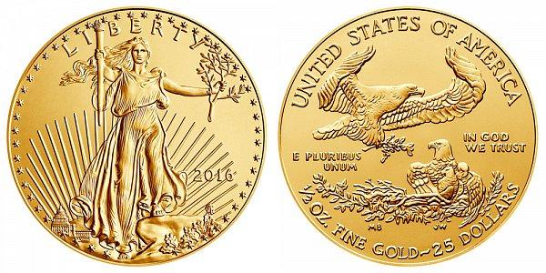 2016 Half Ounce American Gold Eagle - 1/2 oz Gold $25
