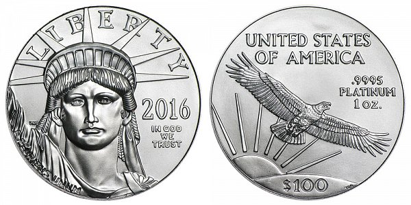 2016 American Platinum Eagle - Brilliant Uncirculated $100 1oz One Ounce Platinum Bullion