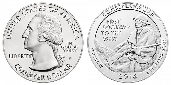 2016 Cumberland Gap 5 Ounce Burnished Uncirculated Coin - 5 oz Silver