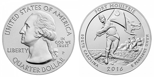 2016 Fort Moultrie 5 Ounce Burnished Uncirculated Coin - 5 oz Silver