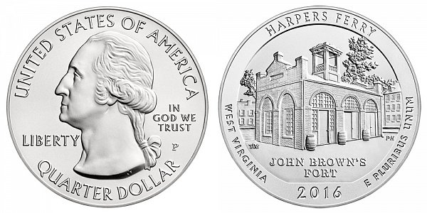 2016 Harpers Ferry 5 Ounce Burnished Uncirculated Coin - 5 oz Silver