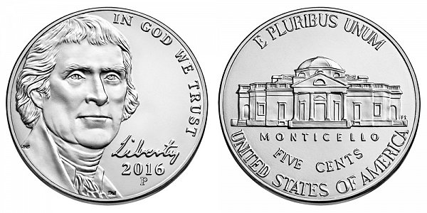 2016 P Jefferson Nickel