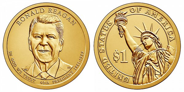 2016 D Ronald Reagan Presidential Dollar