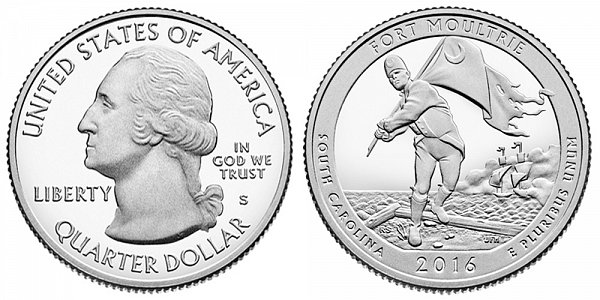 2016 S Proof Fort Moultrie National Monument Quarter - South Carolina