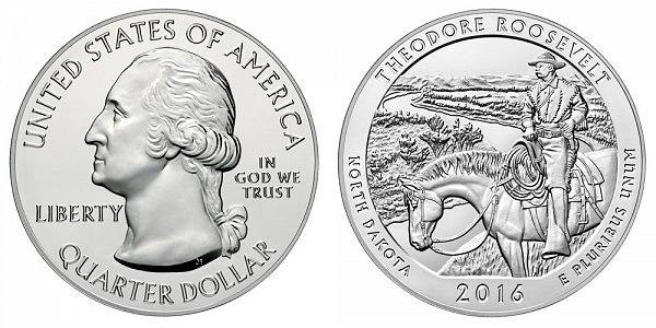 2016 Theodore Roosevelt 5 Ounce Bullion Coin - 5 oz Silver