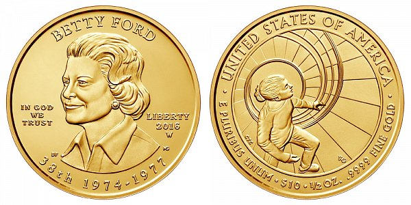 2016 W Betty Ford First Spouse Gold Coin - Brilliant Uncirculated 1/2 oz Half Ounce Gold