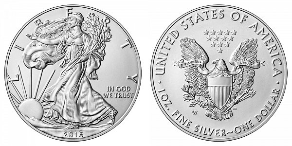 2016 W Bullion American Silver Eagle Burnished Uncirculated - 30th Anniversary