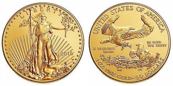 2016 W Burnished Uncirculated One Ounce American Gold Eagle - 1 oz Gold $50