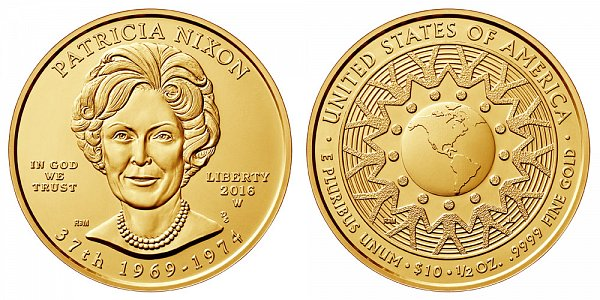2016 W Patricia Nixon First Spouse Gold Coin - Brilliant Uncirculated 1/2 oz Half Ounce Gold