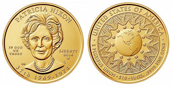 2016 W Patricia Nixon First Spouse Gold Coin - Brilliant Uncirculated 1/2 oz Half Ounce Gold