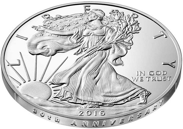 2016 W American Silver Eagle Proof - 30th Anniversary Lettered Edge Closeup Example