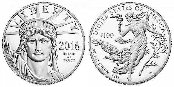 2016 W Proof One Ounce American Platinum Eagle - 1 oz Platinum $100
