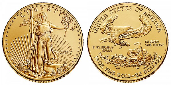2017 Half Ounce American Gold Eagle - 1/2 oz Gold $25