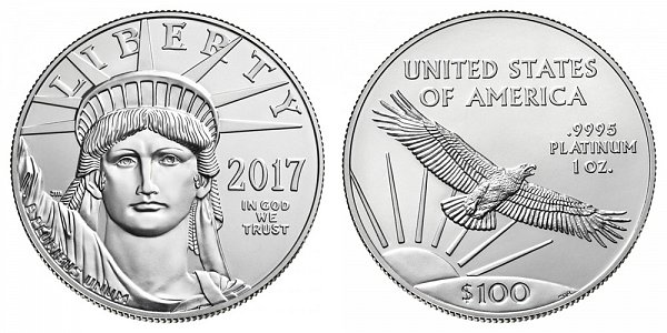 2017 American Platinum Eagle - Brilliant Uncirculated $100 1oz One Ounce Platinum Bullion