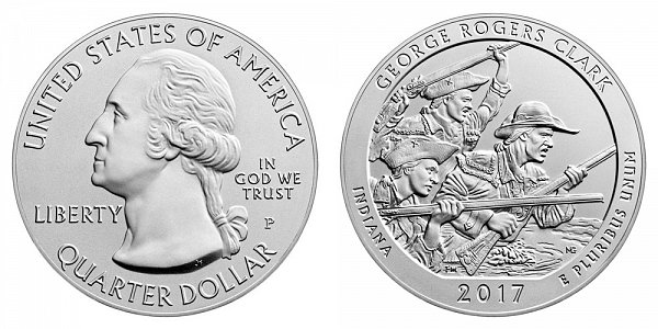 2017 P George Rogers Clark 5 Ounce Burnished Uncirculated Coin - 5 oz Silver