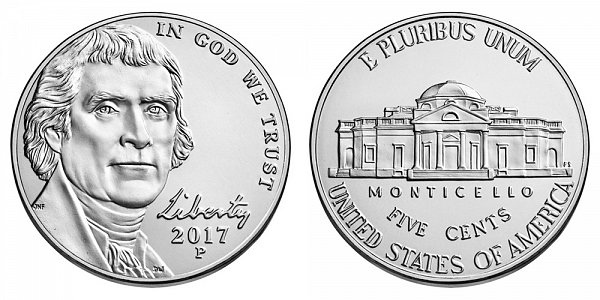 2017 P Jefferson Nickel