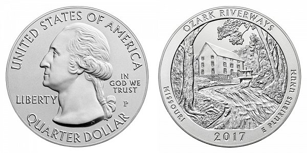 2017 P Ozark Riverways 5 Ounce Burnished Uncirculated Coin - 5 oz Silver