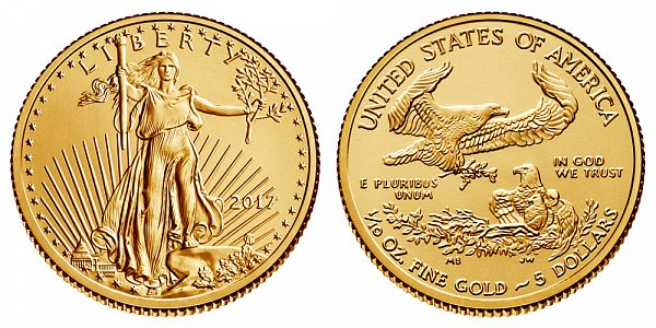 2017 Tenth Ounce American Gold Eagle - 1/10 oz Gold $5