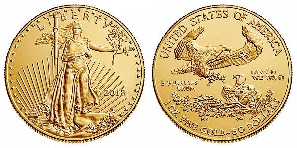 2018 Bullion One Ounce American Gold Eagle - 1 oz Gold $50