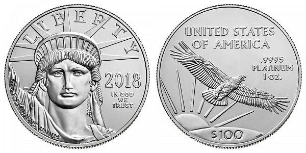 2018 American Platinum Eagle - Brilliant Uncirculated $100 1oz One Ounce Platinum Bullion