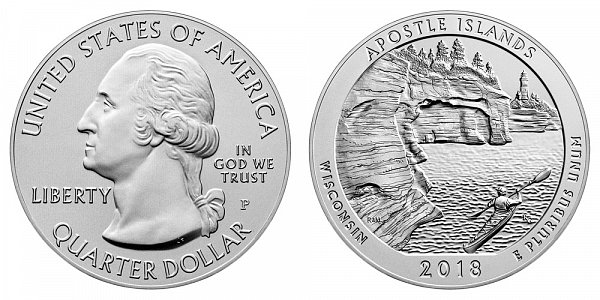 2018 P Apostle Islands 5 Ounce Burnished Uncirculated Coin - 5 oz Silver