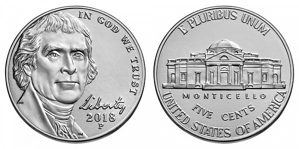 2018 P Jefferson Nickel