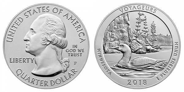 2018 P Voyageurs 5 Ounce Burnished Uncirculated Coin - 5 oz Silver