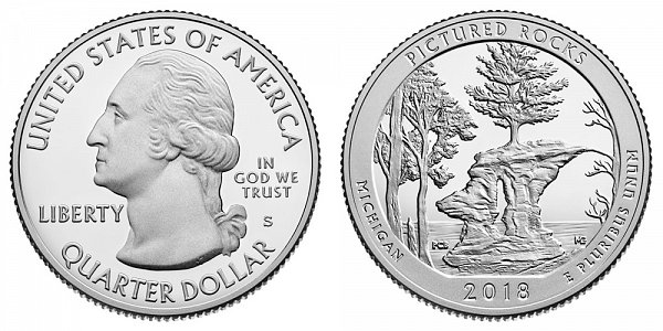 2018 S Proof Pictured Rocks National Lakeshore Quarter - Michigan