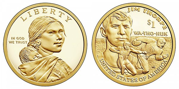 2018 S Proof Sacagawea Native American Dollar - Jim Thorpe - Wa-Tho-Huk