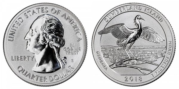 2018 S Silver Reverse Proof Cumberland National Seashore Quarter - Georgia