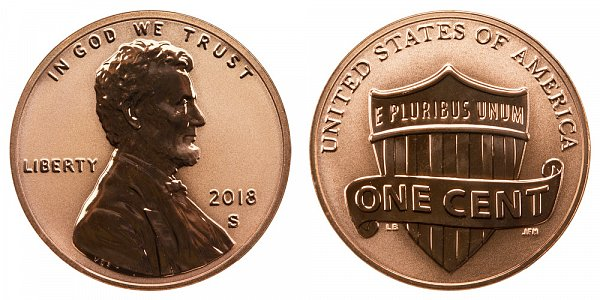 2018 S Reverse Proof Lincoln Shield Cent Penny