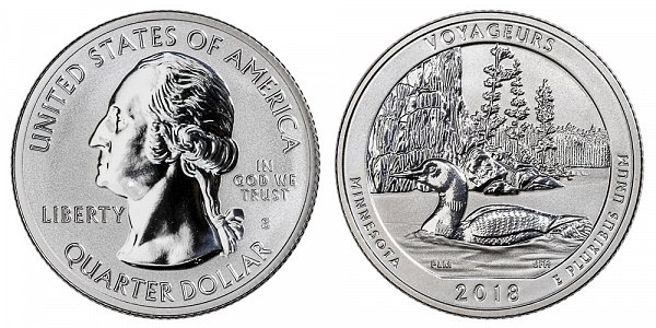 2018 S Silver Reverse Proof Voyageurs National Park Quarter - Minnesota