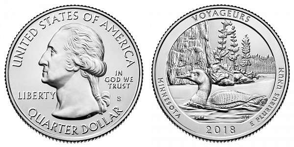 2018 S Uncirculated Voyageurs National Park Quarter - Minnesota